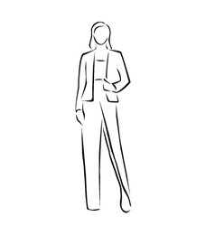 Model on a runway in designer outfit vector