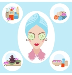 Girl at spa procedures vector