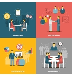 Business meeting flat icons composition vector