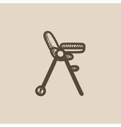 Baby chair for feeding sketch icon vector