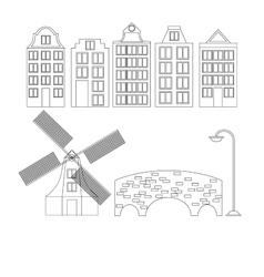 Amsterdam city flat line art travel landmark vector