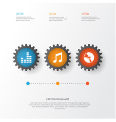 audio icons set collection of equalizer music vector image vector image