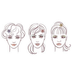 beautiful women portraits vector image