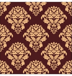 Beige and maroon seamless damask pattern vector