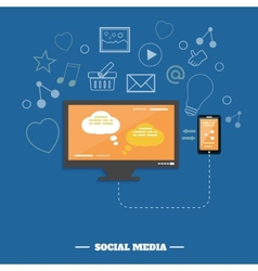 Business software and social media networking vector image
