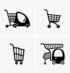 children shopping carts vector image vector image
