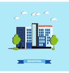 City hospital building in flat vector