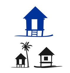 Collection of small nipa hut on a white background vector