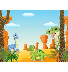 Cute dinosaur collection set vector image