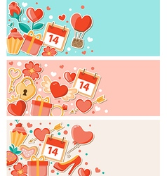 Decorative banners for Valentines day vector image vector image