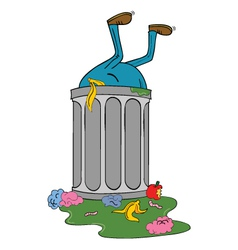 Entering trash bin vector
