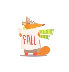 Fox holding fall sign vector