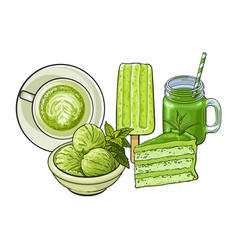 Hand drawn food and drinks with matcha green tea vector