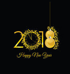 Happy new 2018 year gold with clock vector