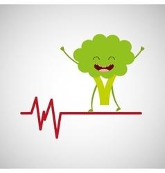 Healthy broccoli cute heartrate icon background vector