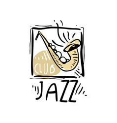 Jazz logo design vintage music label element for vector