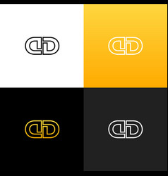 logo dd linear logo of the letter d and d vector image
