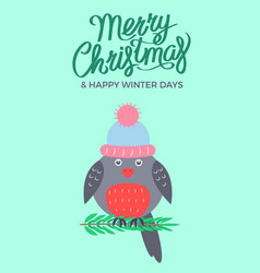 merry christmas green poster vector image vector image