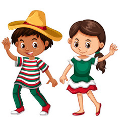 mexican boy and girl waving vector image