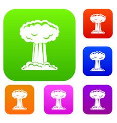 Mushroom cloud set color collection vector