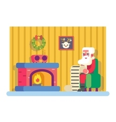 New year santa claus fireplace armchair hold vector