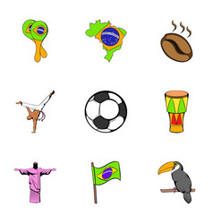 Rio icons set cartoon style vector