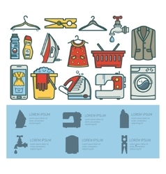 Set of elements of a laundry room vector