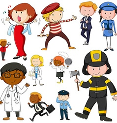 Set of people doing different jobs vector