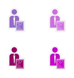 Set of stylish sticker on paper businessman and vector