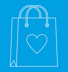 Shopping bag with heart icon outline style vector
