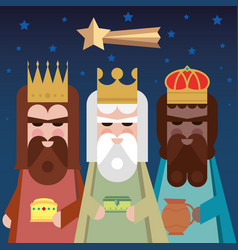 three kings of orient wise men vector image