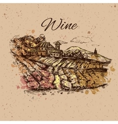 Vineyard landscape composition vector