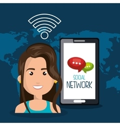 Woman smartphone wifi online isolated vector