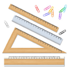 wood school rulers and color paperclips isolated vector image vector image