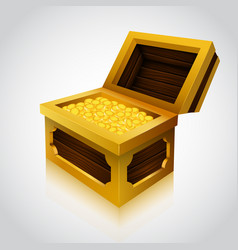 wooden treasure chest on white background vector image vector image