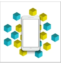 Modern smartphone on geometric background vector