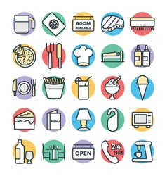 Hotel and restaurant cool icons 5 vector