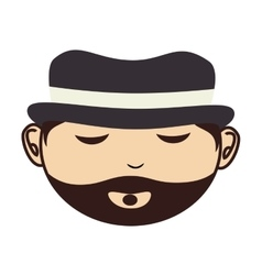 Face man hat beard closed eyes vector
