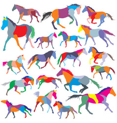 Set of colorful trotting and galloping horses vector