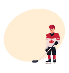 Young hockey player in canadian uniform standing vector