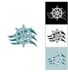 logo marine helm on the wave vector image