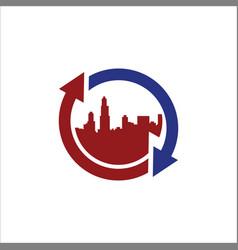 Round arrow town cityscape logo vector