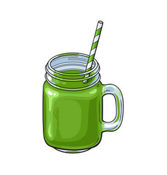 Matcha green tea smoothie in glass jar mug vector