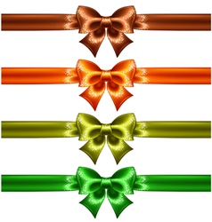Holiday bows with glitter and ribbons vector