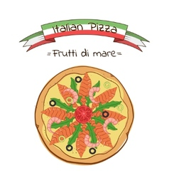 Beautiful of italian pizza frutti di mare vector