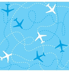 Seamless background airplanes flying with dashed vector