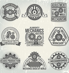 Logos with gears vector