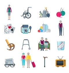 Pensioners Lifestyle Flat Icons vector image