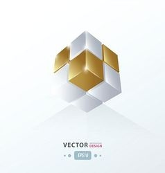 Cube worm view gold style vector