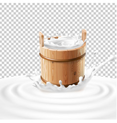 A wooden bucket with milk vector
